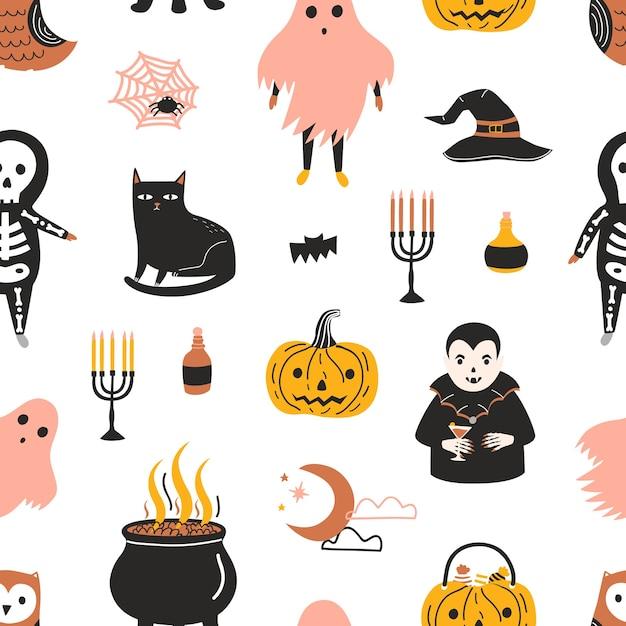 Nahtloses halloween-muster mit gruseligen und gruseligen magischen märchenfiguren auf weißem hintergrund - geist, skelett, vampir, jack-o-laterne Premium Vektoren