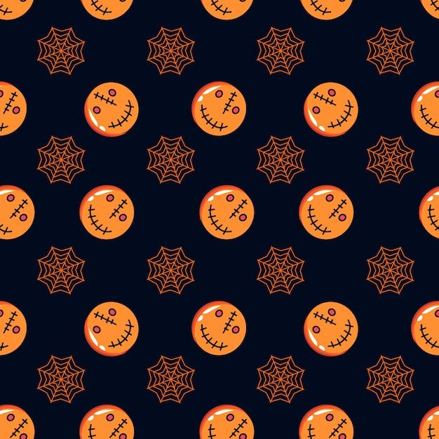 Nahtloses halloween-muster mit spinnennetz und -kürbis Premium Vektoren