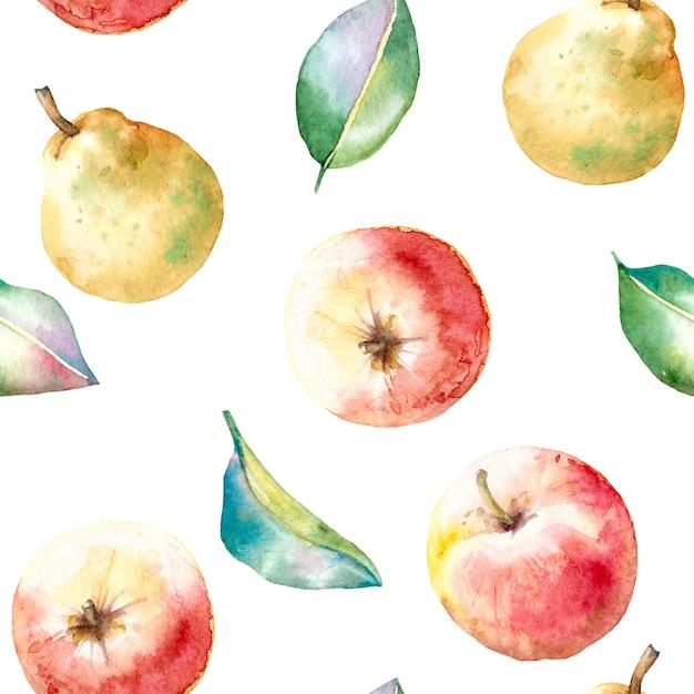 Nahtloses herbstmuster des aquarells mit äpfeln und birnen Premium Vektoren