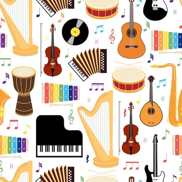 Nahtloses hintergrundmuster der musikinstrumente mit farbigen vektorikonen, die trommel-mandolinen-gitarrentastatur-harfen-saxophon-xylophon-schallplatten-violine und ziehharmonika im quadratischen format darstellen Kostenlosen Vektoren