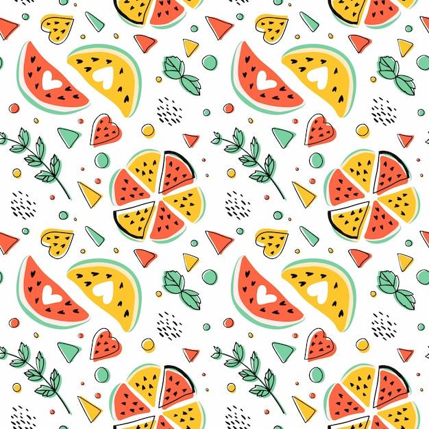 Nahtloses hipster-muster mit wassermelonen, minze und geometrischen figuren. Kostenlosen Vektoren