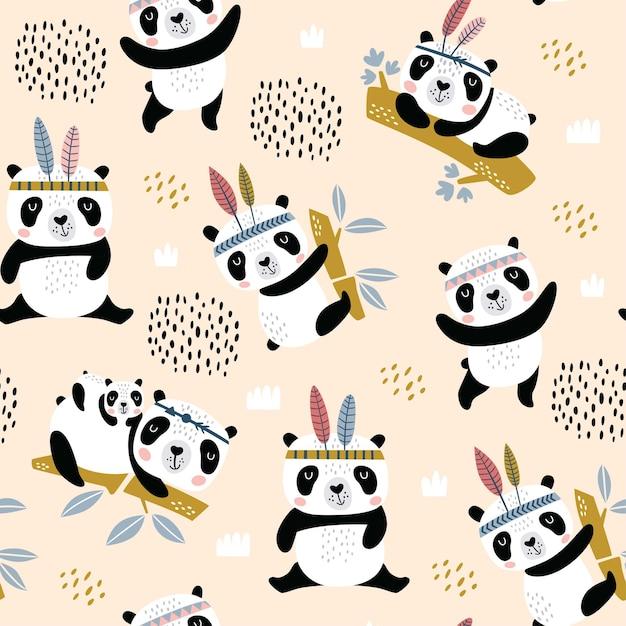 Nahtloses kindliches muster mit handgezeichneten niedlichen pandas. Premium Vektoren
