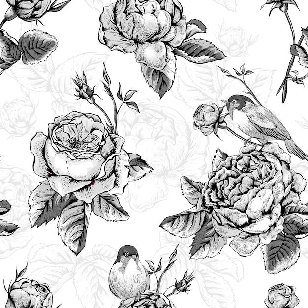 Nahtloses mit blumenmuster mit rosen und vögeln Premium Vektoren