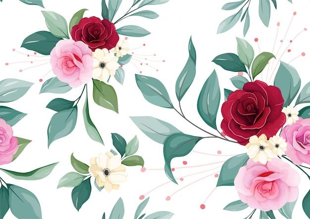 Nahtloses mit blumenmuster von burgunder, erröten, purpurrose, weiße anemonenblume und blätter auf weißem hintergrund Premium Vektoren