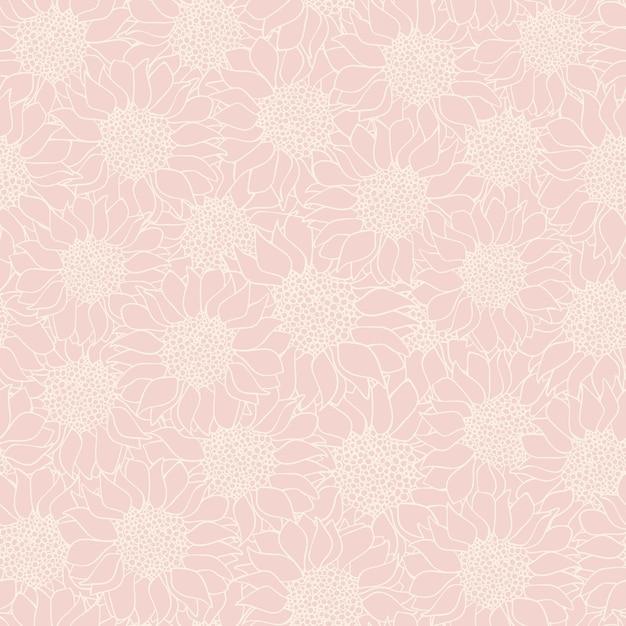 Nahtloses muster der abstrakten sonnenblumen Premium Vektoren
