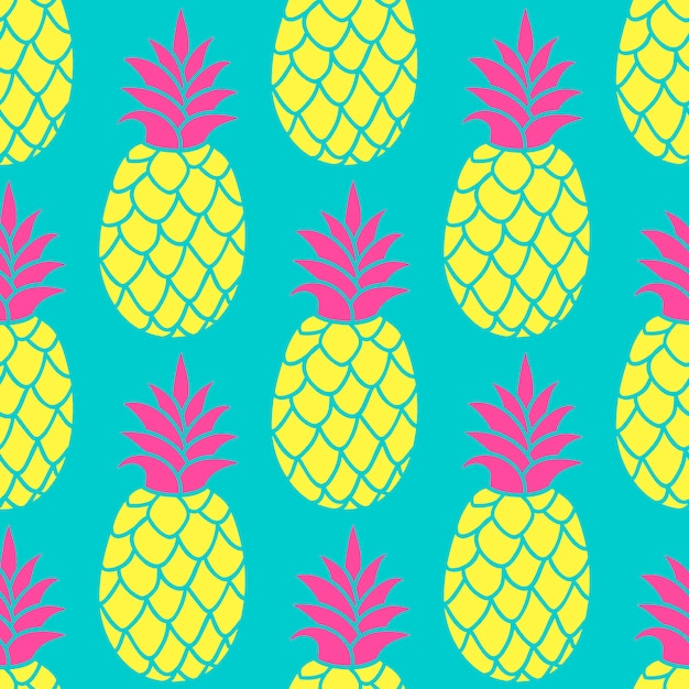 Nahtloses muster der ananas in den modischen farben. Premium Vektoren