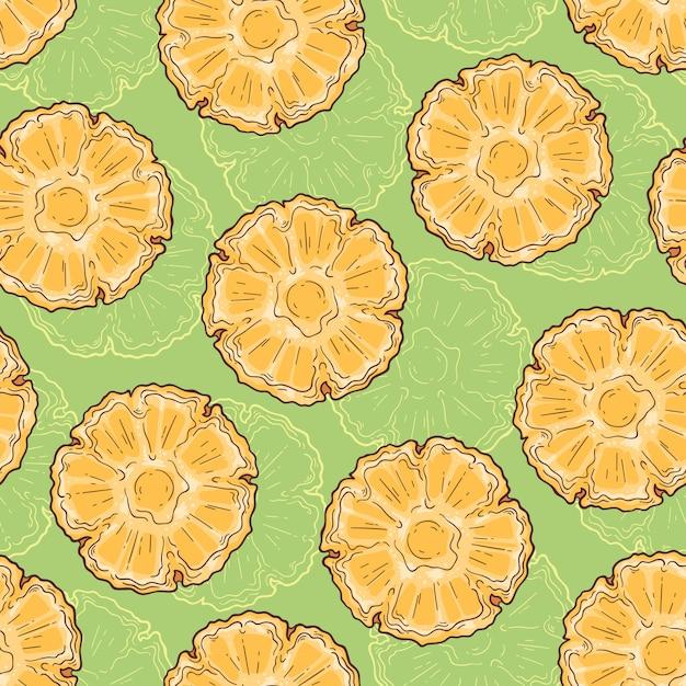 Nahtloses muster der ananas in der skizzenart. Premium Vektoren