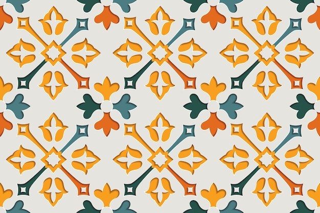 Nahtloses muster der arabischen blumenabstrakten-arabeske. hintergrund des ostmotivpapierstils Premium Vektoren