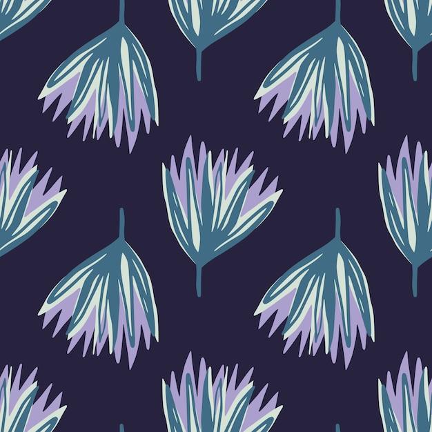 Nahtloses muster der blauen und lila hand gezeichneten tulpenblumen. abstrakte knospenschattenbilder auf dunkelblauem dunklem hintergrund. Premium Vektoren