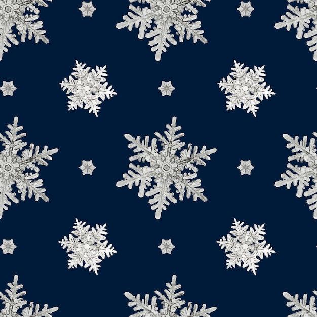 Nahtloses muster der blauen weihnachtsschneeflocke Kostenlosen Vektoren