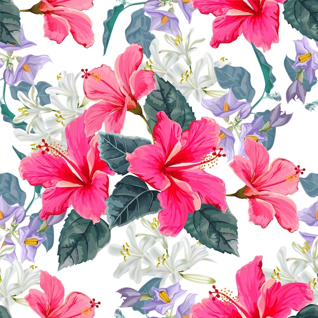 Nahtloses muster der blume mit hibiscusblume Premium Vektoren
