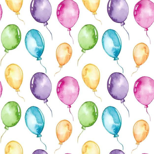 Nahtloses muster der bunten ballone des aquarells Premium Vektoren