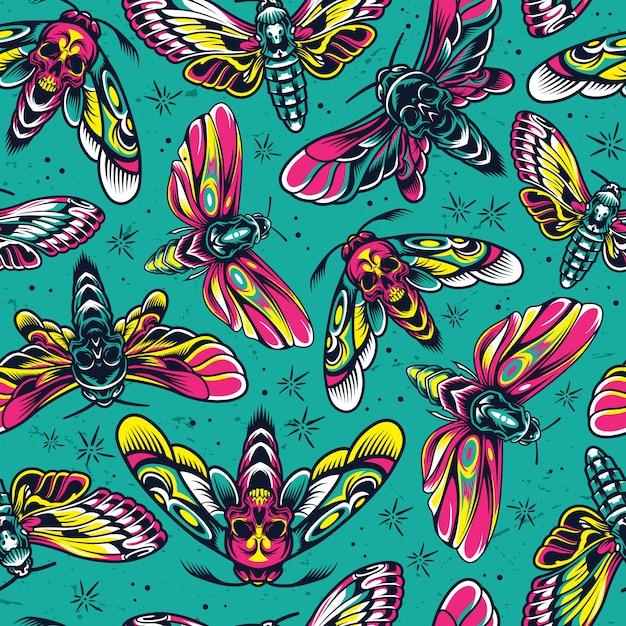 Nahtloses muster der bunten insekten der weinlese Kostenlosen Vektoren