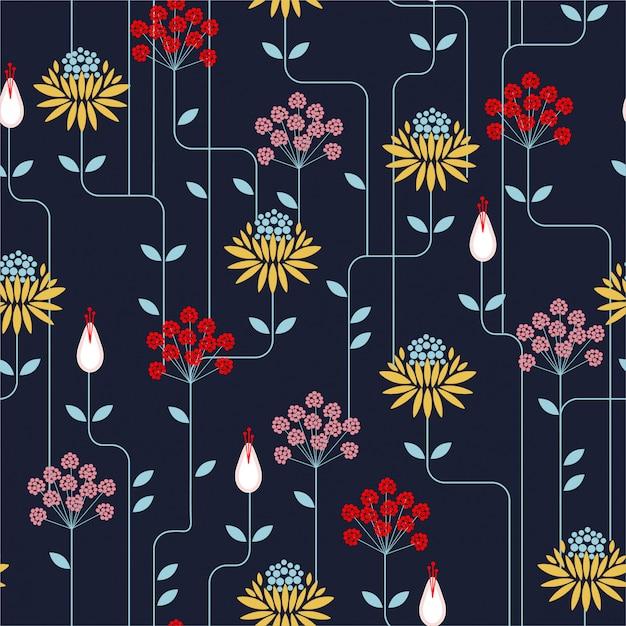 Nahtloses muster der bunten retro- blume, weinleseart. design für mode auf stoffen, textilien, papier, tapeten Premium Vektoren