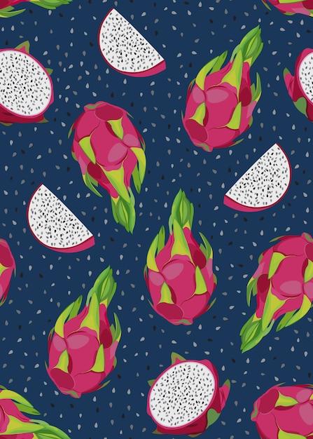 Nahtloses muster der drachefrucht und der scheibe mit samen. tropische exotische kaktusfrüchte Premium Vektoren