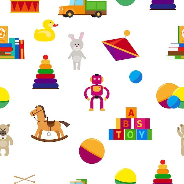 Nahtloses muster der flachen art der kinderspielwaren Premium Vektoren