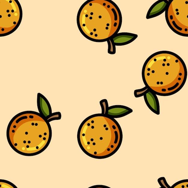 Nahtloses muster der flachen orangen der netten karikatur Premium Vektoren