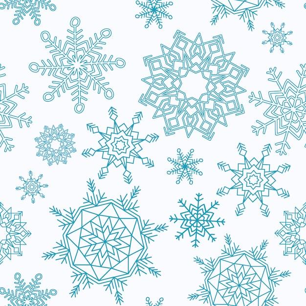 Nahtloses muster der frohen weihnachten und des guten rutsch ins neue jahr mit schneeflocken. Kostenlosen Vektoren