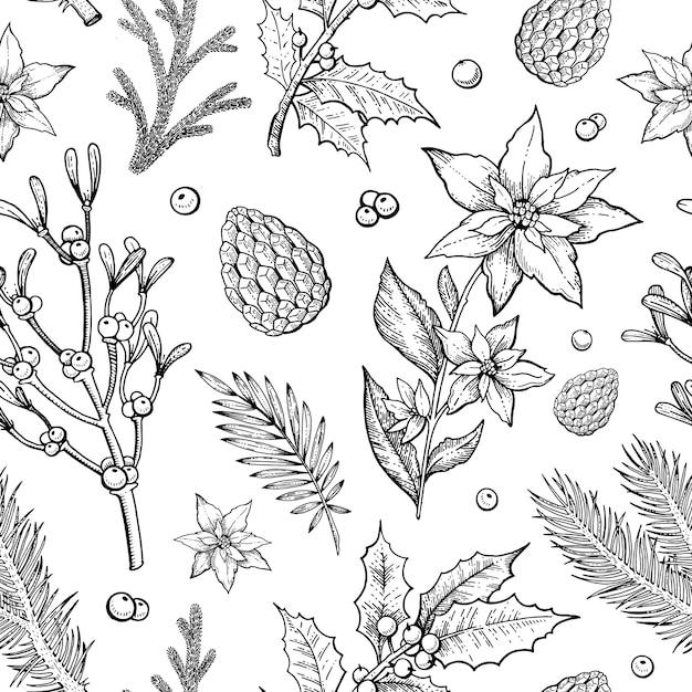 Nahtloses muster der frohen weihnachtspflanzen mit tannenzweig Premium Vektoren