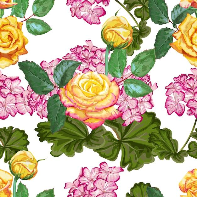 Nahtloses muster der gelben rose und der hortensie Premium Vektoren