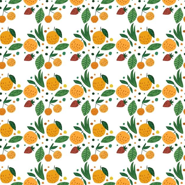 Nahtloses muster der geometrischen früchte. lustige gartenfrucht. gezeichnete tapete der kirschbeeren, der äpfel, der erdbeere und der blätter hand. Premium Vektoren