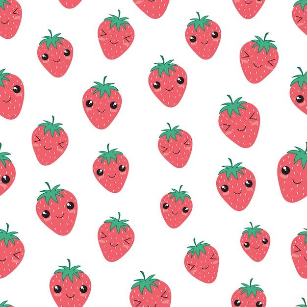 Nahtloses muster der glücklichen erdbeerfrucht kawaii Premium Vektoren