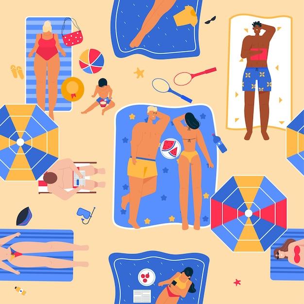 Nahtloses muster der glücklichen leute, die am strand in der draufsicht sonnenbaden. mann liegt mit buch auf handtuch. frau ruht mit ihrem kind auf see Premium Vektoren