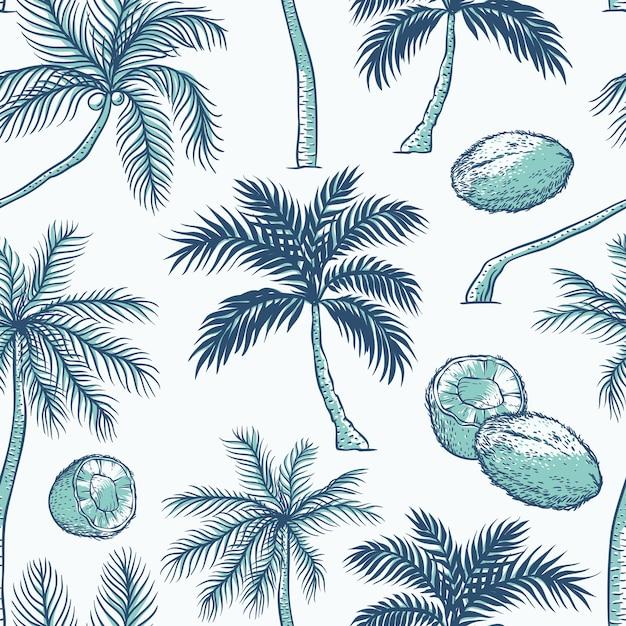 Nahtloses muster der handfläche. verschiedene arten von tropischen palmen und kokosnuss. konturenskizzenhintergrund monochromes türkis Premium Vektoren