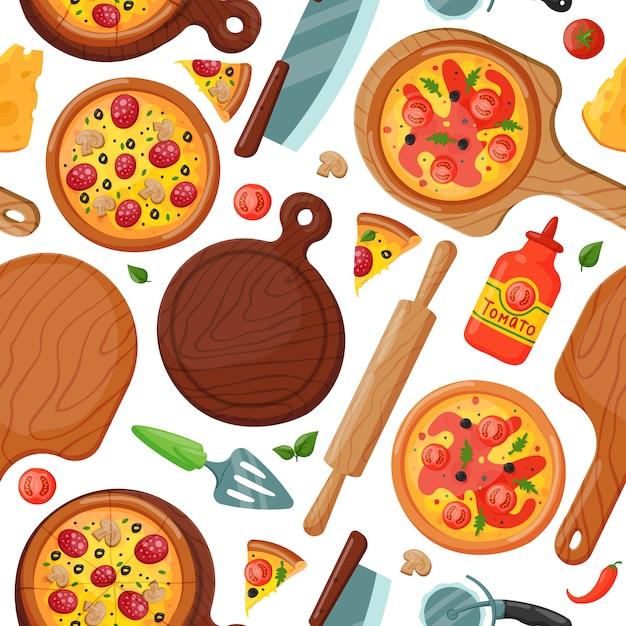 Nahtloses muster der heißen frischen pizza, nahrungselement Premium Vektoren