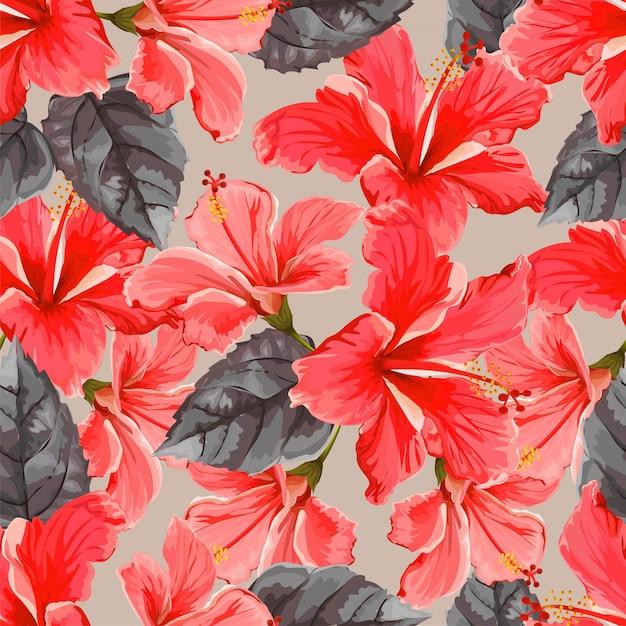 Nahtloses muster der hibiskusblume Premium Vektoren
