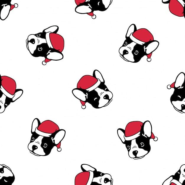 Nahtloses muster der hundefranzösischen bulldogge weihnachten santa claus Premium Vektoren