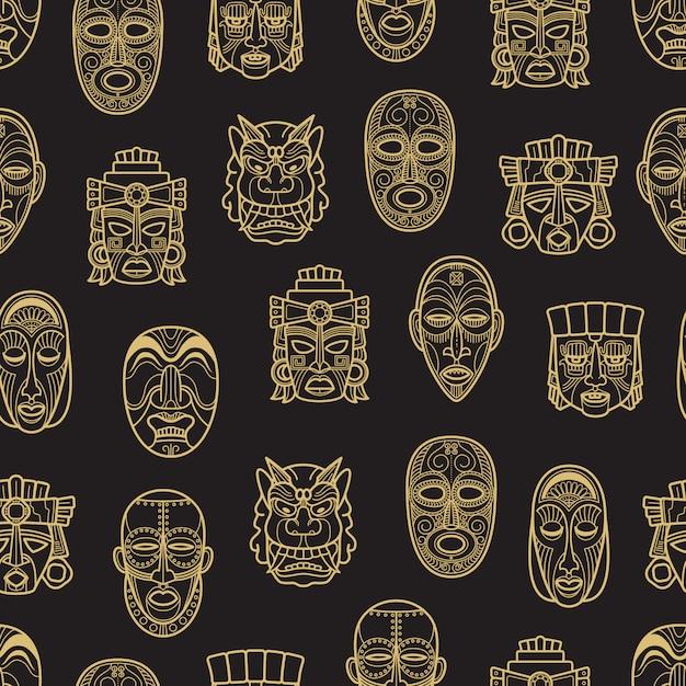 Nahtloses muster der indischen aztekischen und afrikanischen historischen stammes- maske Premium Vektoren