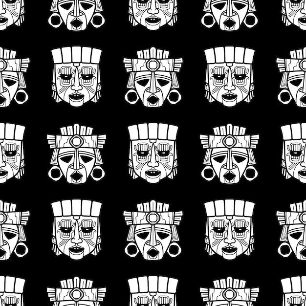 Nahtloses muster der indischen aztekischen und afrikanischen stammes- vodoo-maske Premium Vektoren