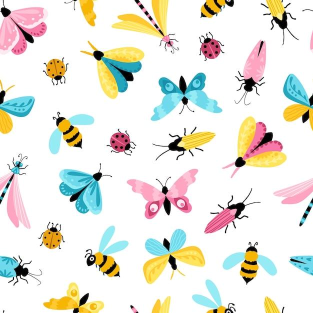 Nahtloses muster der insekten. bunte handgezeichnete schmetterlinge, libellen und käfer in einem einfachen kindlichen cartoonstil. Premium Vektoren