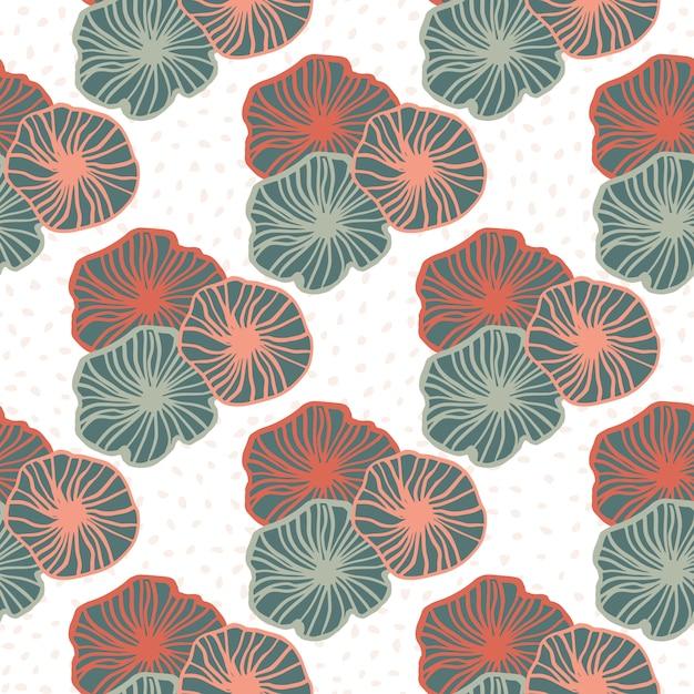 Nahtloses muster der isolierten geometrischen umrissblumen. konturierte elemente des rosa und blauen pastells auf weißem hintergrund. Premium Vektoren