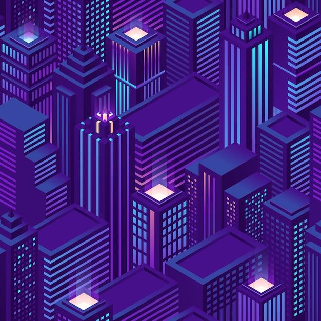 Nahtloses muster der isometrischen stadt mit wolkenkratzern und bürogebäuden bei nacht. lila hintergrund mit architektur von geschäftshäusern und wohnungen. stadtbild der modernen innenstadt Kostenlosen Vektoren