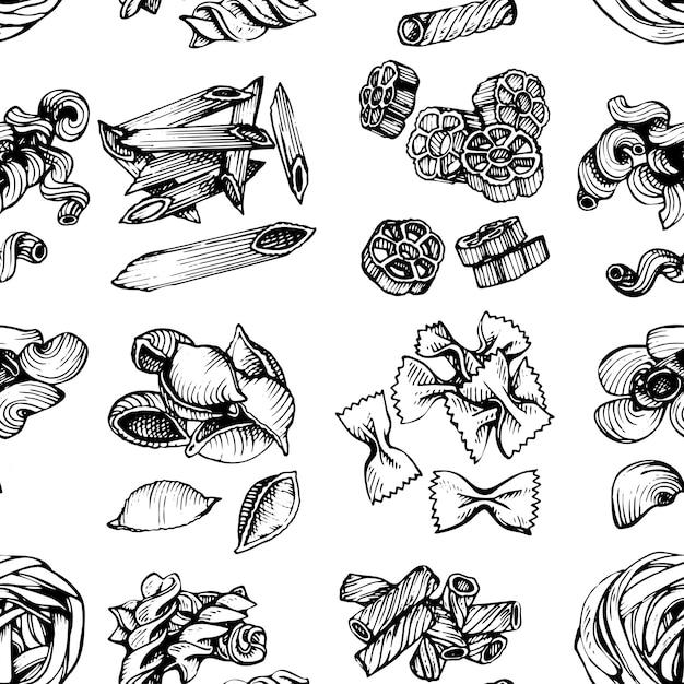 Nahtloses muster der italienischen teigwarenskizze. hand gezeichnete vektorillustration des makkaronis. skizze nahtlose muster von nudeln. Premium Vektoren