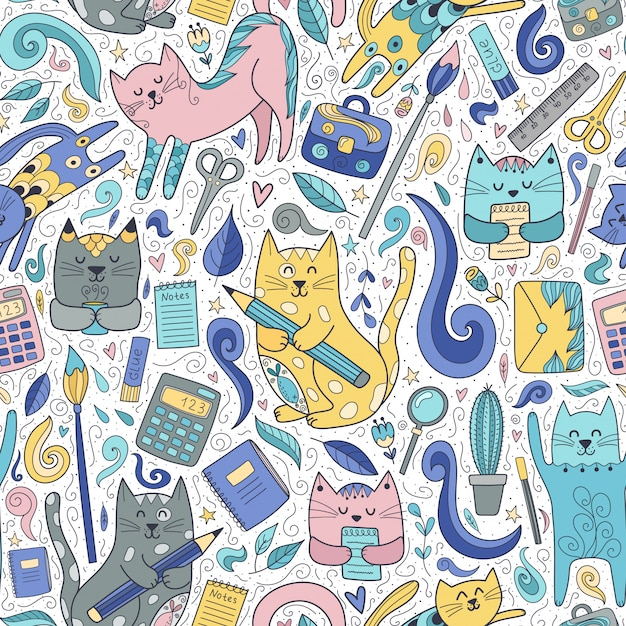 Nahtloses muster der katzen und der stifte. lustige schule Premium Vektoren