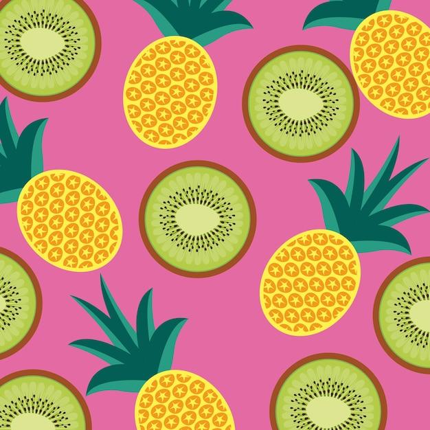 Nahtloses muster der lebensmittelfruchtananas und -kiwi Premium Vektoren
