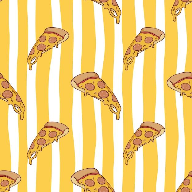 Nahtloses muster der leckeren geschmolzenen pizza mit farbigem gekritzelstil Premium Vektoren