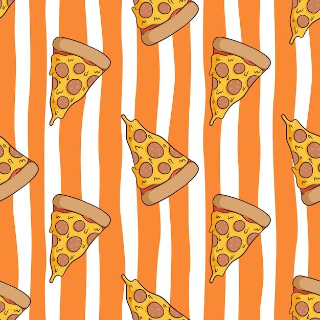 Nahtloses muster der leckeren pizza mit farbigem gekritzelstil Premium Vektoren