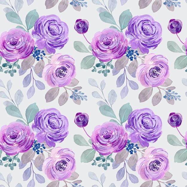 Nahtloses muster der lila aquarellrosen Premium Vektoren