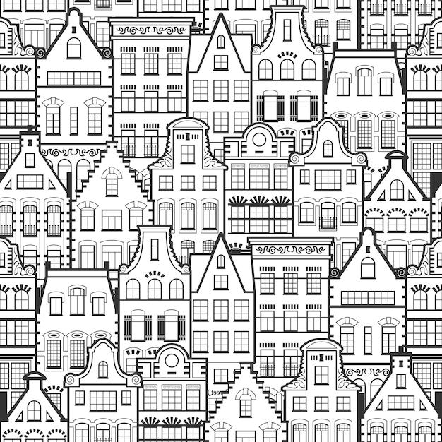 Nahtloses muster der linie alte häuser art hollands Premium Vektoren