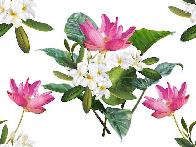 Nahtloses muster der lotus- und plumeriablume Premium Vektoren