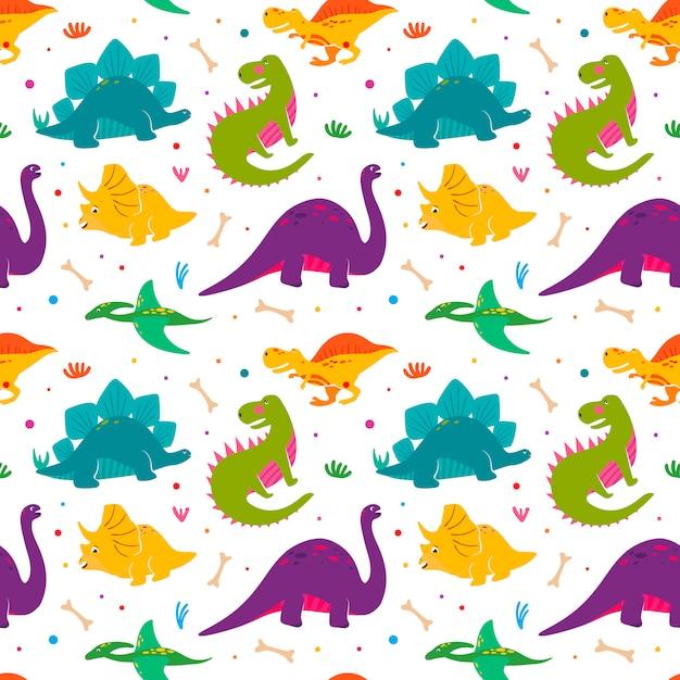 Nahtloses muster der lustigen dinosaurier. Premium Vektoren