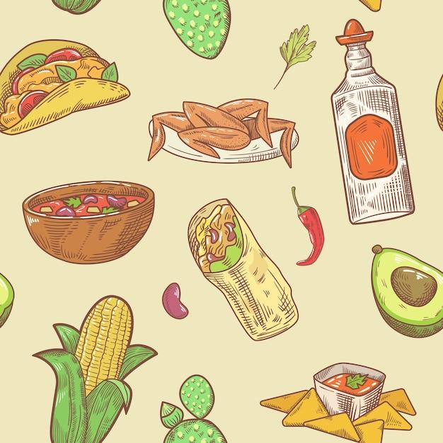 Nahtloses muster der mexikanischen küche Premium Vektoren