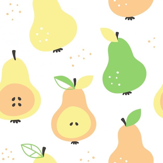 Nahtloses muster der modernen schönheit der frash-birnen, hand gezeichnetes überschneidendes vektorkarikatur-illustrationsdesign. nahtloses muster mit handzeichnungsbirne trägt sammlung früchte. dekorative illustration, druck Premium Vektoren