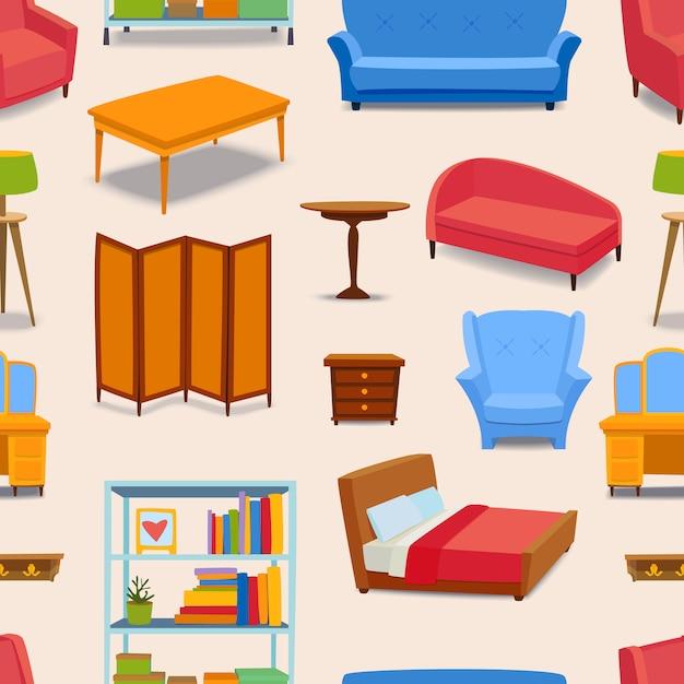 Nahtloses muster der möbel- und wohngestaltungikone Premium Vektoren