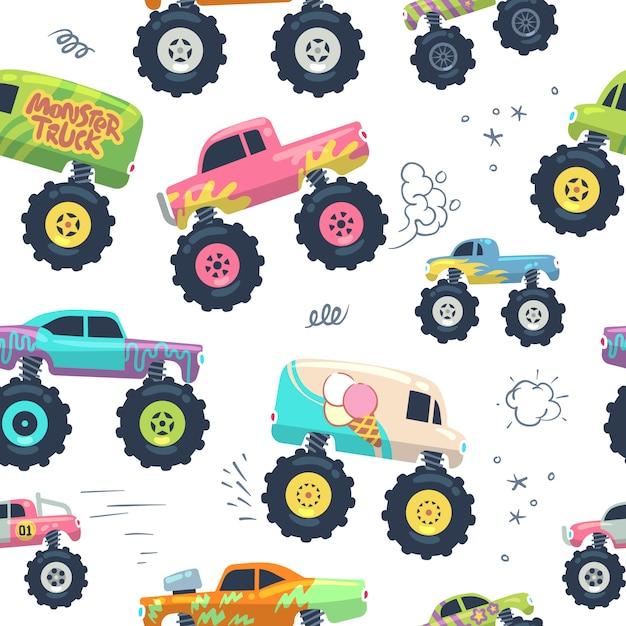 Nahtloses muster der monsterautos. kid trucks mit riesenrad. Premium Vektoren