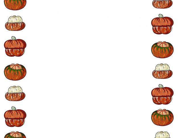 Nahtloses muster der netten bunten kürbiskarikatur. halloween dekoration banner Premium Vektoren